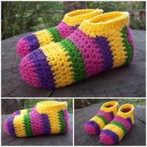 Pantuflas Y Botitas De Lana Al Crochet