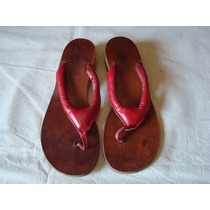 Ojotas De Cuero Color Rojo Bordó Talle 37