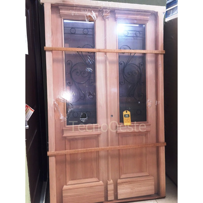 Puerta doble madera carpincruz colonial antigua 130x220 cm for Puertas antiguas dobles