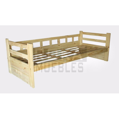 Divan cama tafi de 1 plaza con respaldo pino macizo roka for Divan cama con cajones 1 plaza