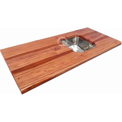 Mesada cocina madera quebracho hidrolaqueado bacha acero for Bachas para cocina