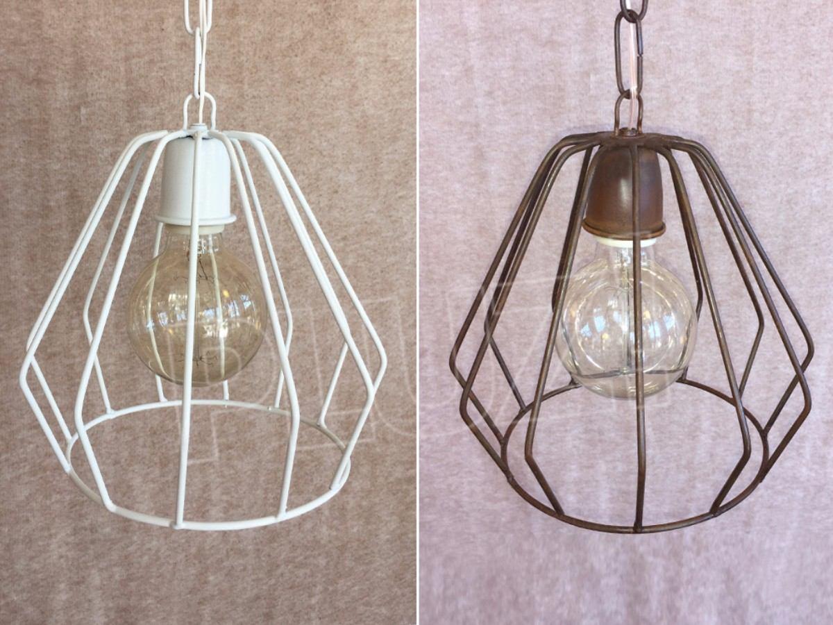 Lámpara Colgante Diamante Mini - Hierro Blanco