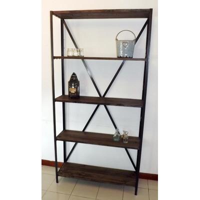 Estanteria de hierro y madera deco muebles rusticos for Muebles industriales madera y hierro