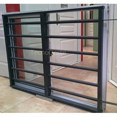 Ventana aluminio blanco 150x110 reja tubos horizontales for Ventana balcon medidas