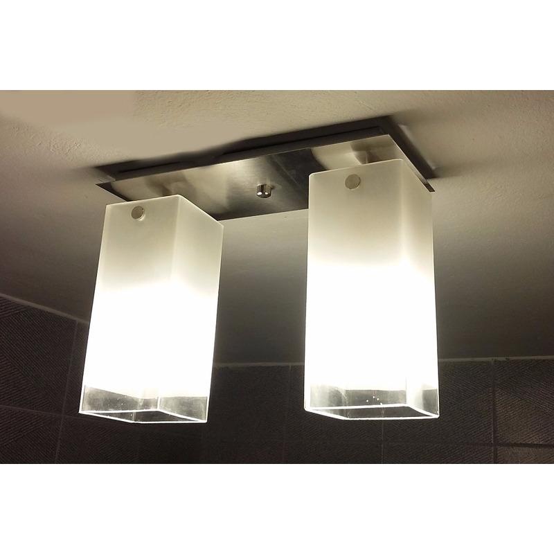 Plafon 2 Luces Vidrio Cuadrado Apto Led E-27 Deco Moderno