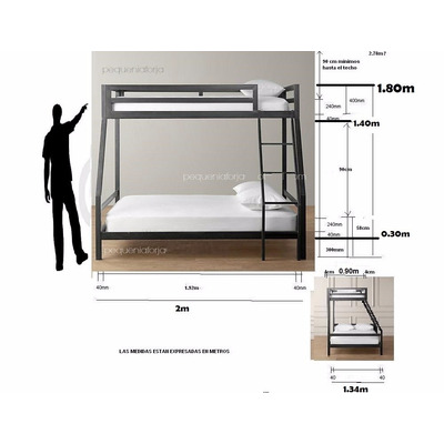 Cama cucheta hierro xl colchon extra - Medidas cama 90 ...