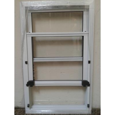 Ventana guillotina aluminio blanco 60x100 aberturas leo for Aberturas de aluminio blanco precios rosario