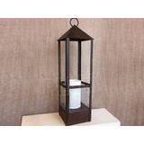 Lámpara Mesa Farol Mediano c/pant. tela - Hierro &...