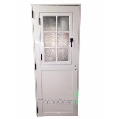 Puerta exterior aluminio blanco 1 2 vidrio repartido abrir - Puertas de aluminio blanco para exterior ...