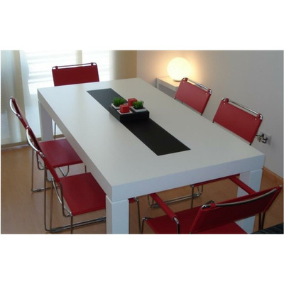 Mesa asia laqueada comedor madera con vidrio 140 x 80 cm for Diseno de mesa de madera con vidrio