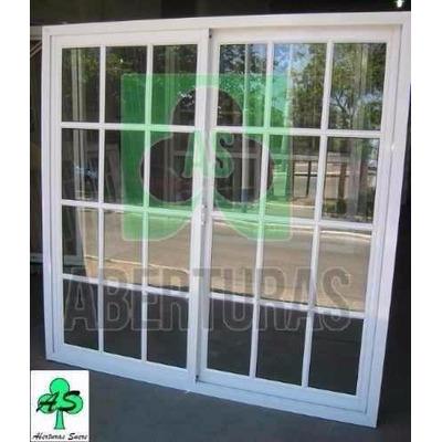 Ventana aluminio blanco reparti 120x150 c vid y reja 3620 for Ventanales tipo puerta