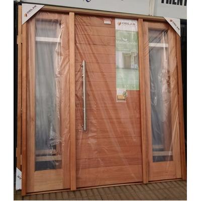 Puerta oblak con doble portada madera maciza exterior for Puertas modernas precios