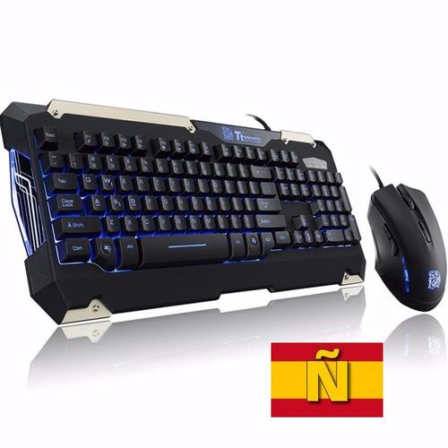 Kit Teclado Y Mouse Ttsport Commander Gamer Luz Español