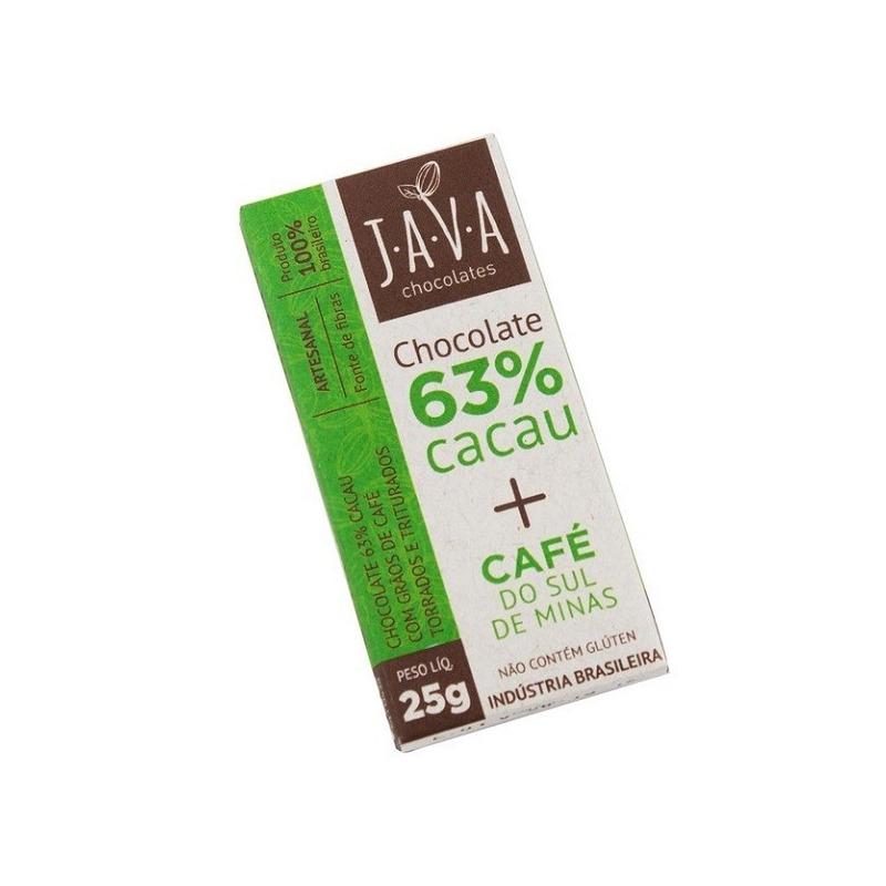 Chocolate 63% Cacau com Cafe Torrado - 25g - Java