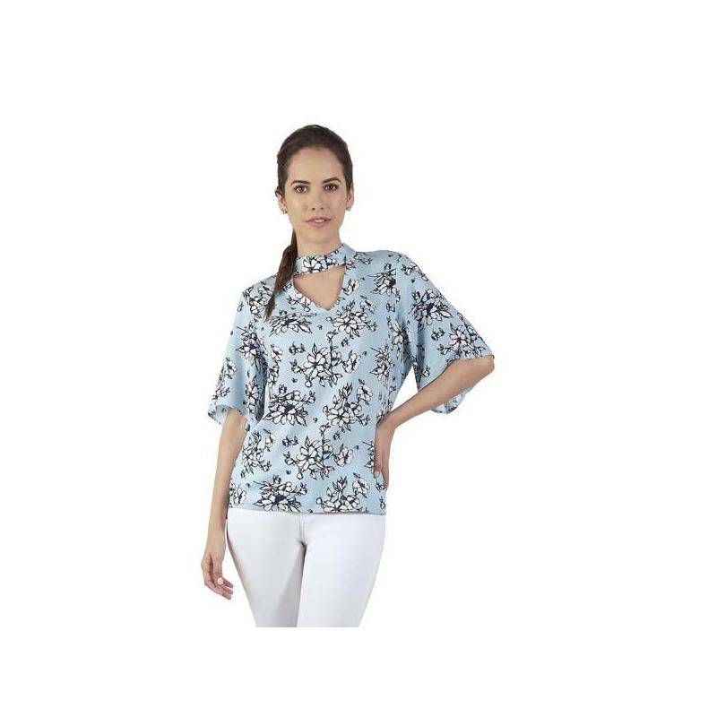 Blusa azul multicolor manga corta 015471