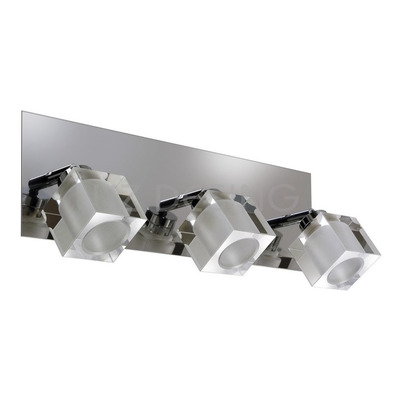 Aplique 3 Luces Ice Vidrio Cromo Espejo Movil Apto Led G9