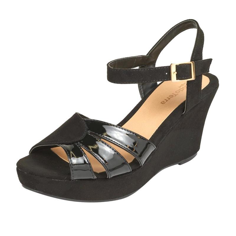 Sandalia plataforma negra hebilla  016605