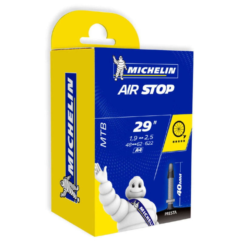 CÂMARA DE AR MICHELIN AIR STOP ARO 29 MTB - 29 X 1.9/2.5 - VÁLVULA 40MM PRESTA (BICO FINO)