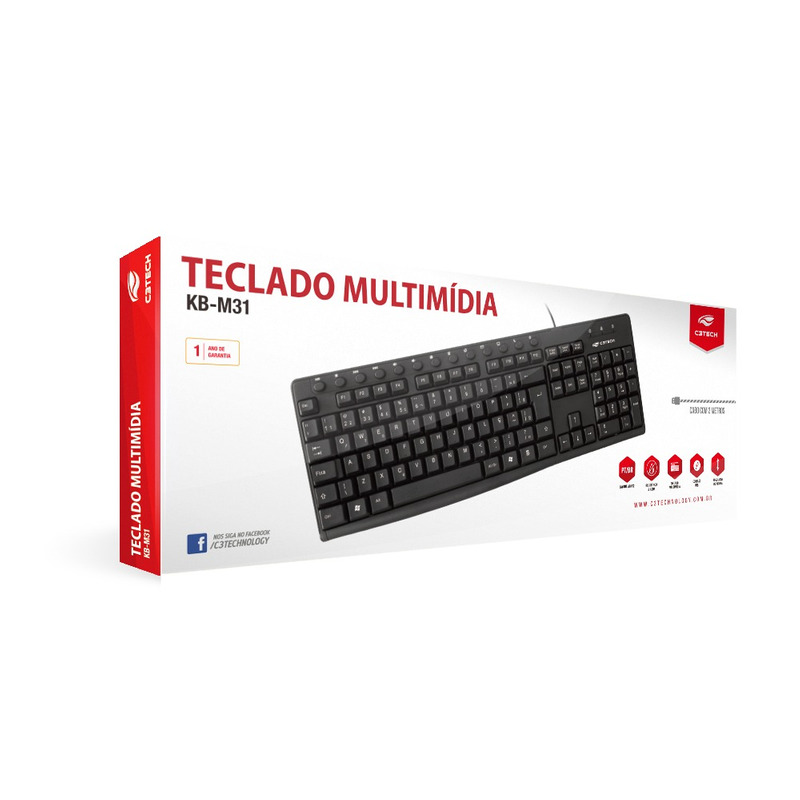 TECLADO MULTIMIDIA USB C3TECH KB-M31BK PRETO