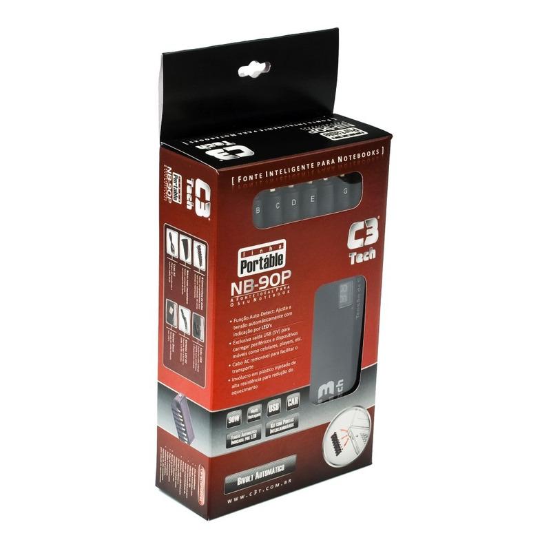 FONTE UNIVERSAL PARA NOTEBOOK 90W COM USB E VEICULAR C3TECH NB-90P