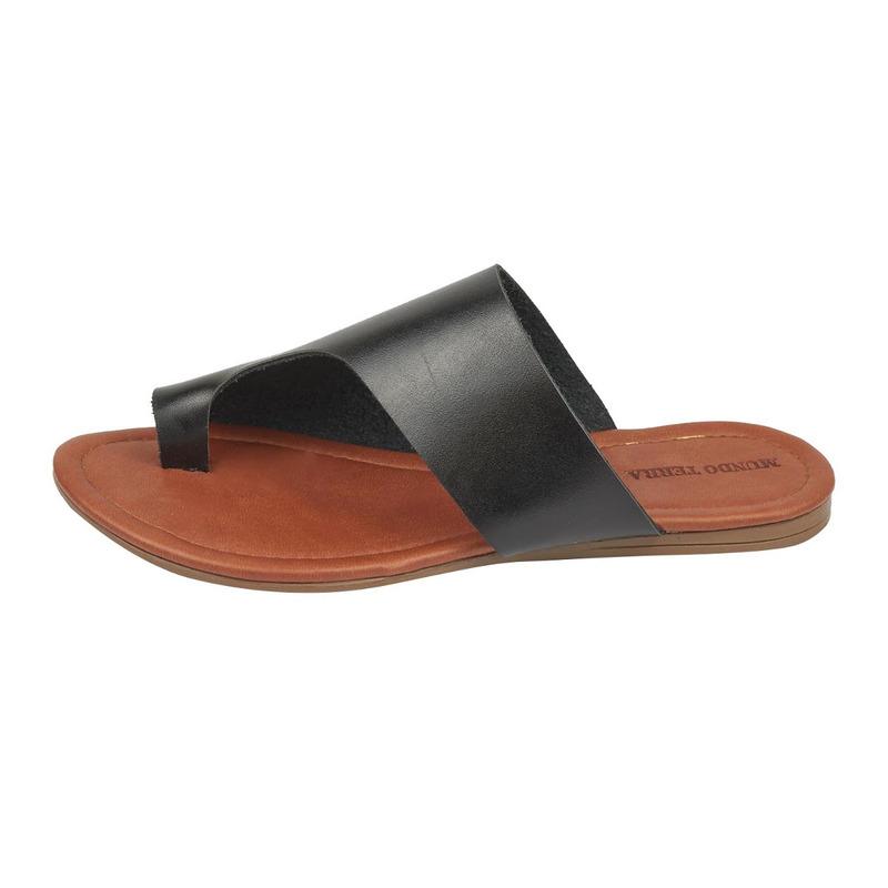 Sandalia piso negra piel  017491