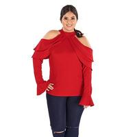 Blusa roja olanes y hombro descubierto  014383P