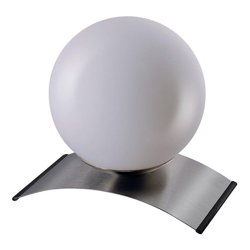 Lampara Velador De Mesa Globo Opal Acero Apto Led E27 Deco