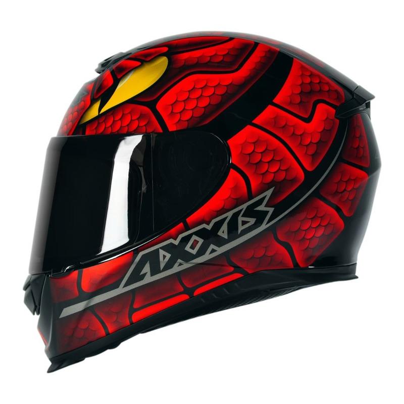 Capacete Axxis Eagle Snake Vermelho Com Viseira Fumê