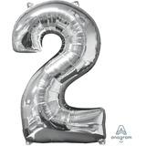 globo letra numero plateado 85cm desinflado apto helio/aire