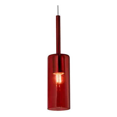 Colgante 1 Luz Tall Rojo Apto Led Vidrio Deco Lk