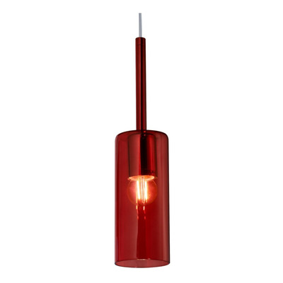Colgante 1 Luz Tall Rojo Apto Led Vidrio Deco Moderno
