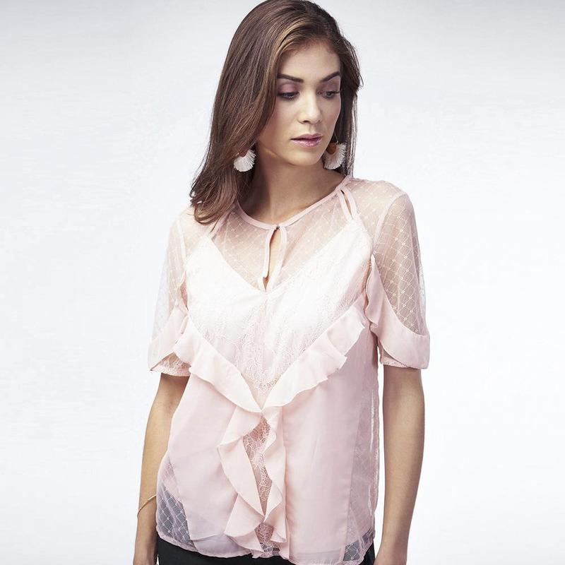 Blusa Rosa Con Olanes 017079