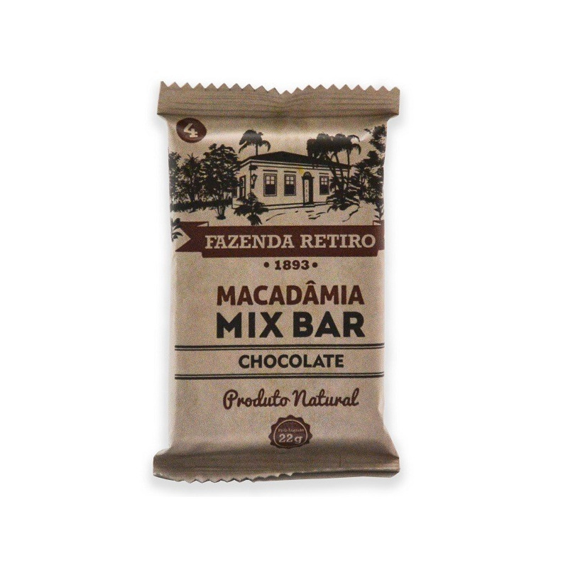 Barra de Macadamia Mix Bar com Chocolate 22g -Fazenda Retiro