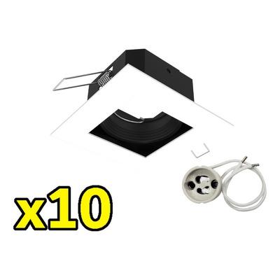 Pack X 10 Spot Embutir Antideslumbrante Blanco Sin Lampara