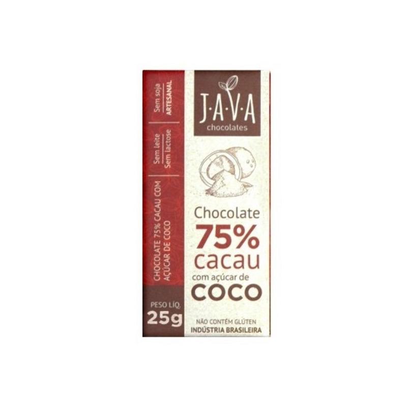 Chocolate 75% Cacau com Açúcar de Coco - 25g - Java