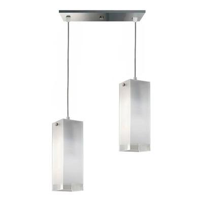 Colgante 2 Luces Vidrios Cuadrados Apto Led E-27 Luz Desing