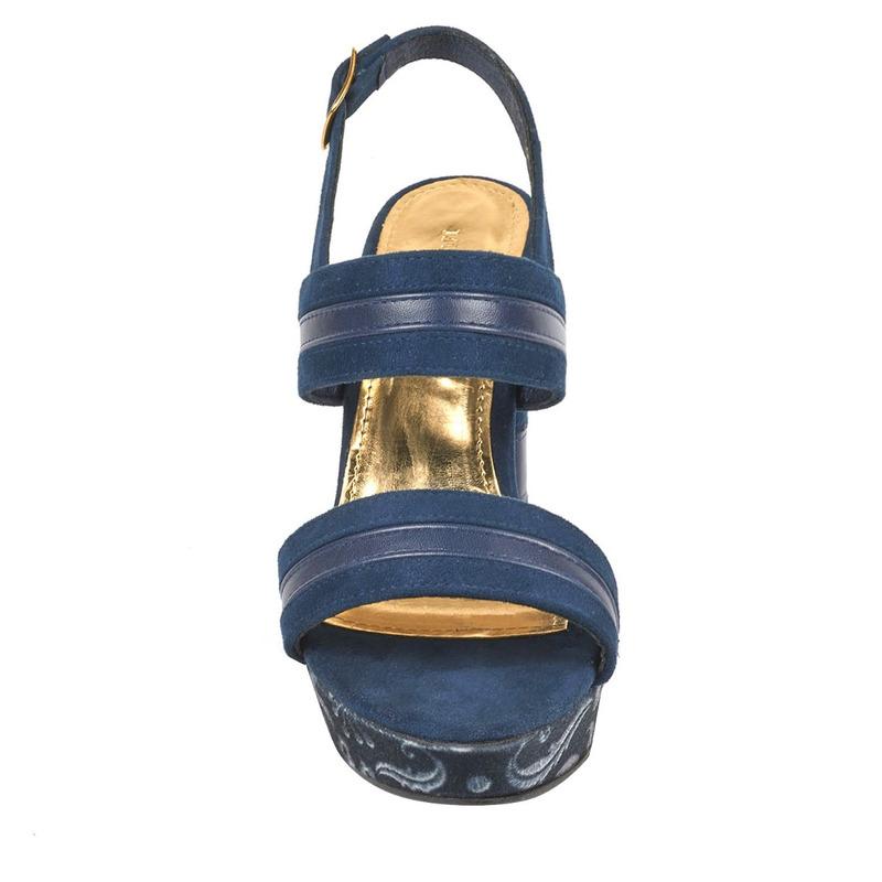 Sandalia tacón azul con cintas 016505