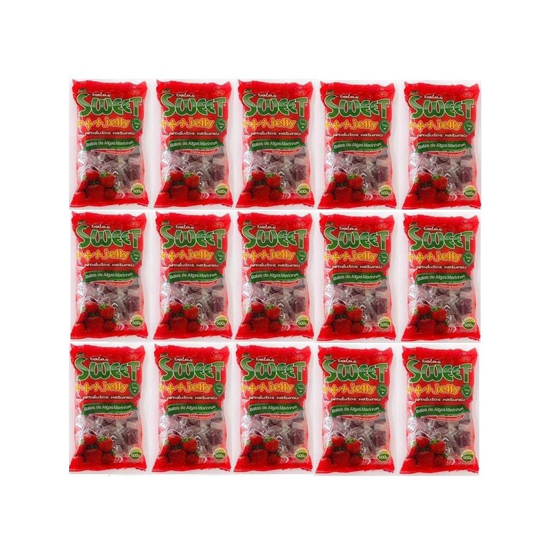 Balas de Algas Sweet Jelly Sabor Morango - Kit 15 x 500g