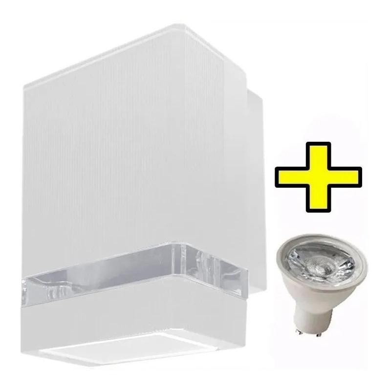 Difusor Unidireccional Exterior Blanco Aluminio Con Gu10 Led