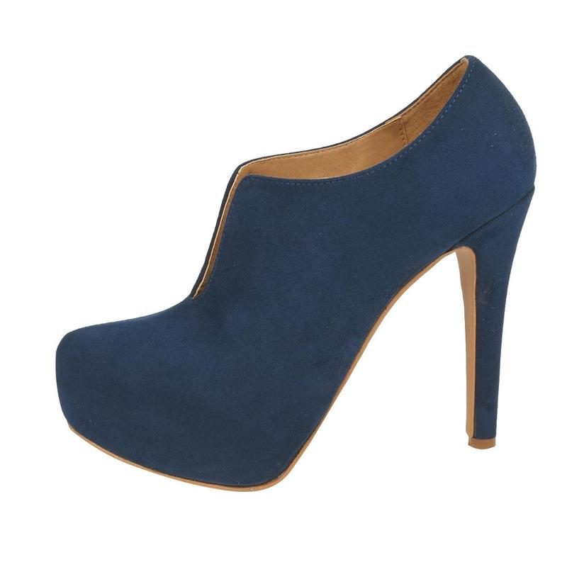 Zapatilla tacón azul terciopelo  016412