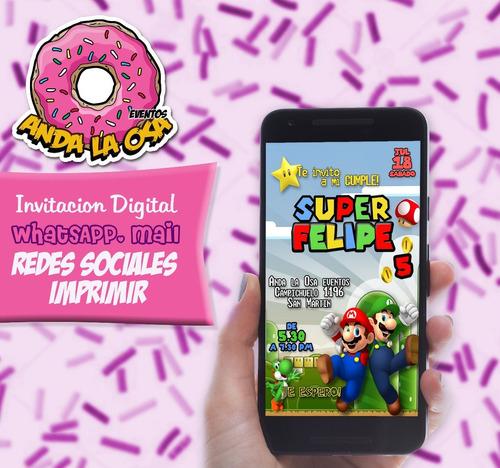 Tarjetas Invitaciones Digital Mario Bros En Venta En