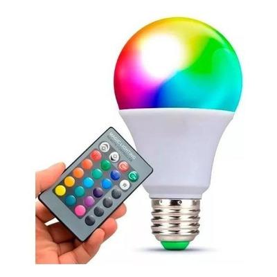 Lámpara Led E27 10w Rgb Color Control Remoto Luz Desing