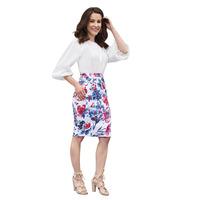 Falda Blanco Con Estampado Floral 019393