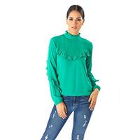 Blusa verde manga larga olanes 014375
