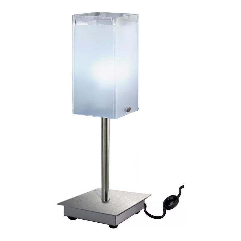 Velador Vidrio Cuadrado Moderno Apto Led Luz Desing