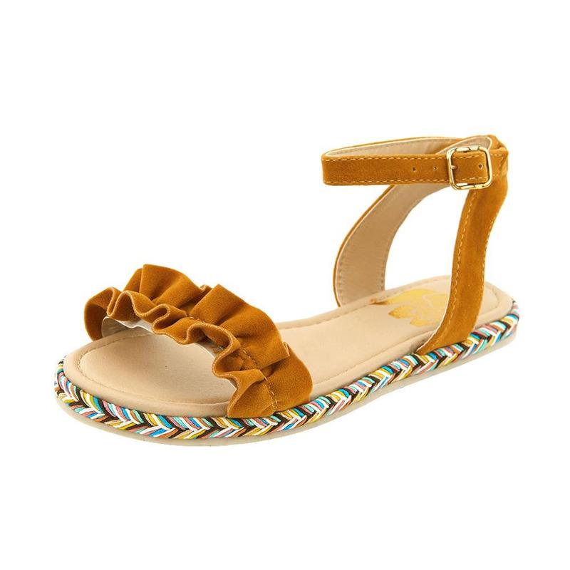 Sandalia De Piso Amarilla Con Detalle Multicolor 020155