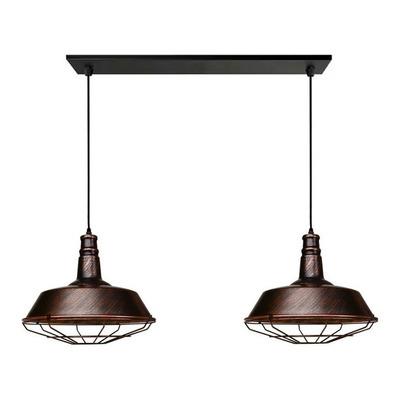 Colgante 2 Luces Vintage Cobre Industrial Reja Moderno Led