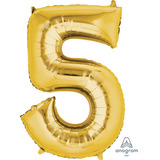 globo numero dorado 85cm desinflado apto helio/aire