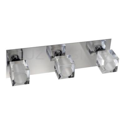 Aplique Plafon 3 Luces Ice Vidrio Cromo Espejo Apto Led G9