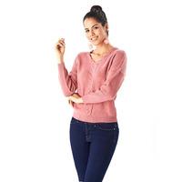 Suéter rosa tejido 014305
